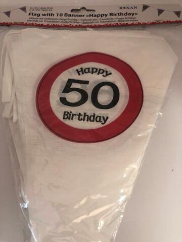 Flagbanner Happy Birthday 50